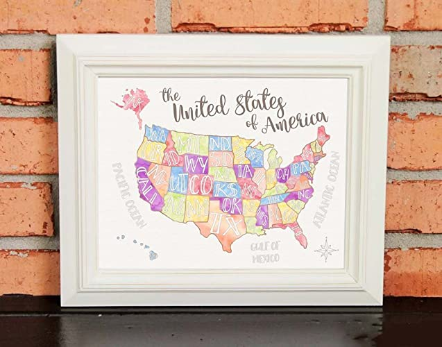 Amazoncom US Map Watercolors Hand Drawn Childrens Art - United states map picture frame