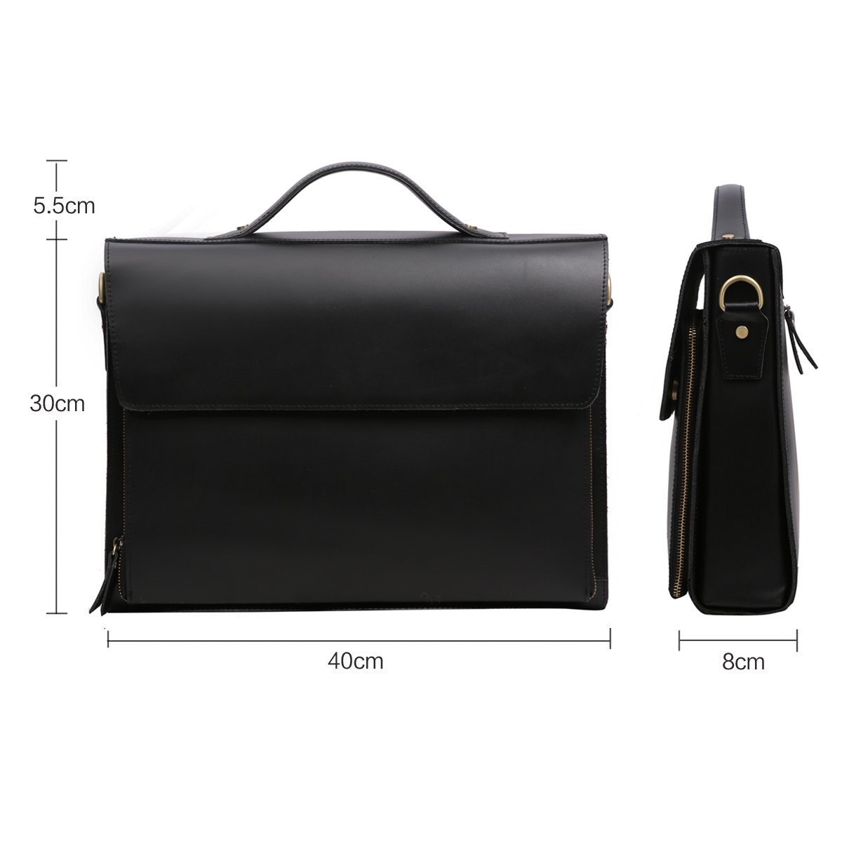 Leathario Leather Briefcase for Men Leather Laptop Bag Shoulder Messenger Bag Business Work Bag by Leathario (Image #1)