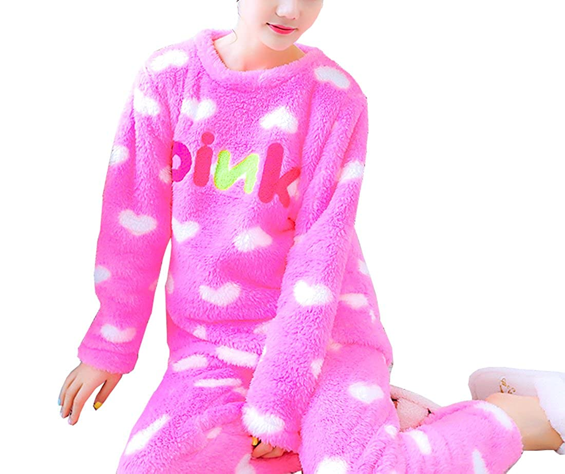 color20 Respeedime Autumn and Winter Pajamas Women Flannel Long Sleeves Thick Home Service