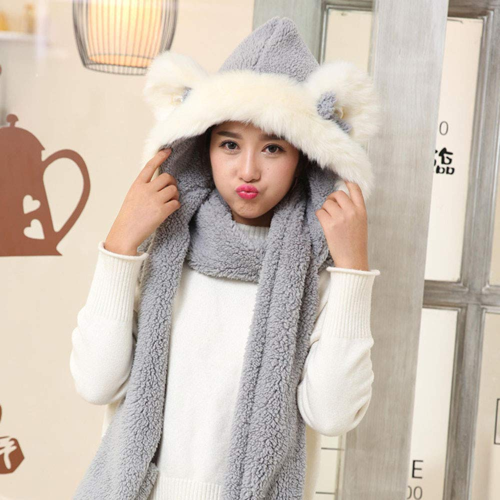 b9c7ea56392f4 Clearance 3 in 1 Scarf Winter Warm Fluffy Hood Snood Pocket Gloves Hat  Ladies Faux Fur Novelty Cute Hat Gift at Amazon Women s Clothing store