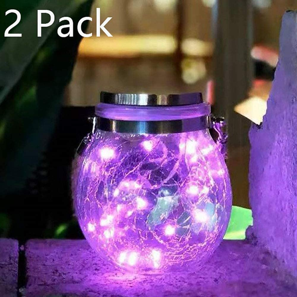 Hanging Solar Lights,20 LED Mason Jar Lid Lights Yard and Lawn(Pink) String Fairy Lights Waterproof Outdoor Solar Powered Lanterns with Handle Great Outdoor Lawn D/écor for Patio Garden