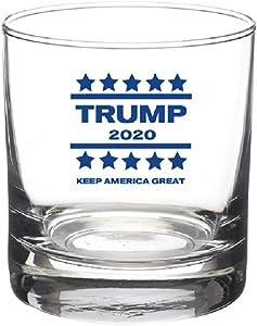 Trump 2020 Keep America Great Donald Trump Gift Funny Unique 10 oz Whiskey Glass (Trump, 1)