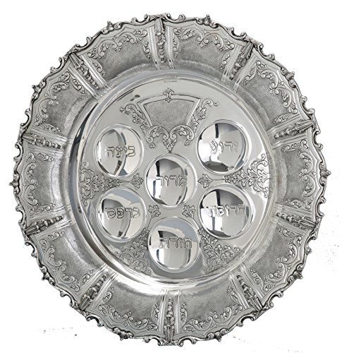Hazorfim Livorno Seder Plate Passover Pesach sterling silver judaica Israel Jerusalem Holy land gift .925 925 seder Jewish holiday hatzorfim by Hazorfim