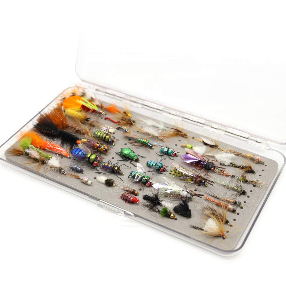 YZD Fly Fishing Flies Realistic Dry Wet Nymph Trout Flies Hand Tie Lures Kits 12/26/48 Pcs (9-Trout selections 48 pcs)