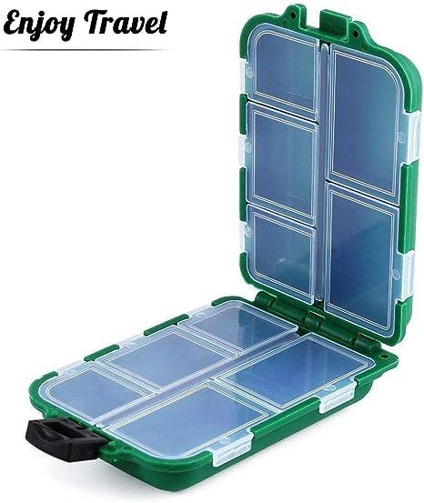 Caja para Aparejos de Pesca Caja de Almacenamiento con 10 Compartimentos para Pesca Caja de Gancho Caja de Accesorios de PVC Almacenamiento Caso Verde, Plastico Almacenaje Multifunción: Amazon.es: Deportes y aire libre