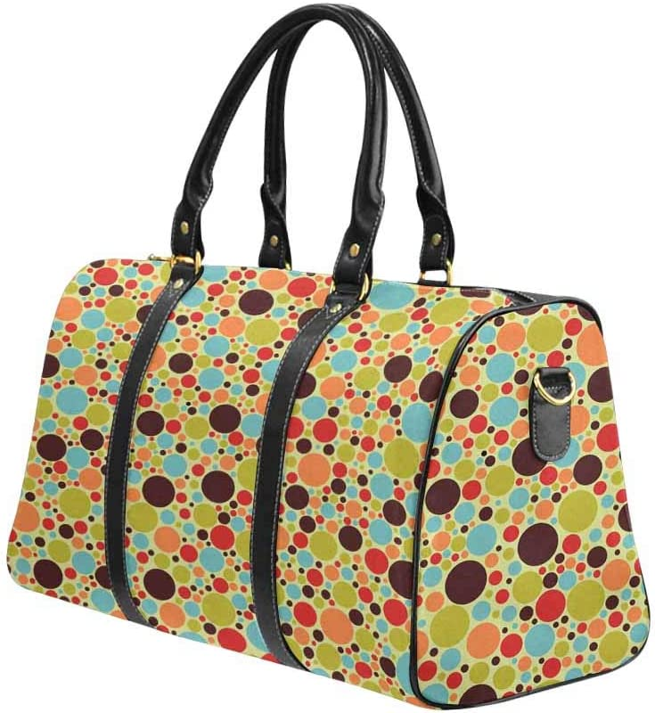 InterestPrint Carry-on Garment Bag Travel Bag Duffel Bag Weekend Bag Abstract Colorful Circle Dot