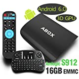 [Free Mini Keyboard] 2017 Model Globmall ABOX A3 Android 6.0 TV Box with Amlogic S912 Octo-Core 2GB RAM 16GB ROM 64-bit ARM Cortex A53 CPU