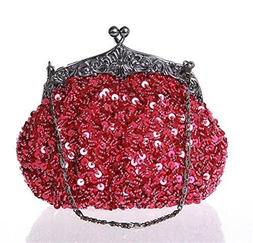 Beaded Hobo Purse Handbag - TimestorySequined Antique Victorian Handmade Beaded Clasp Clutch Evening Purse (Wine red)