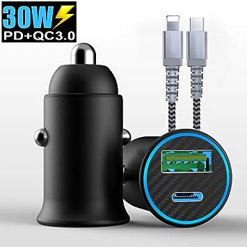 Mini Cargador de Coche, Mini Doble Puerto Rápida Cargador Móvil Type C y QC 3.0 Encendedor de Carga de Salida 30W / 4.8A Compatible con iPhone 11 Pro ...