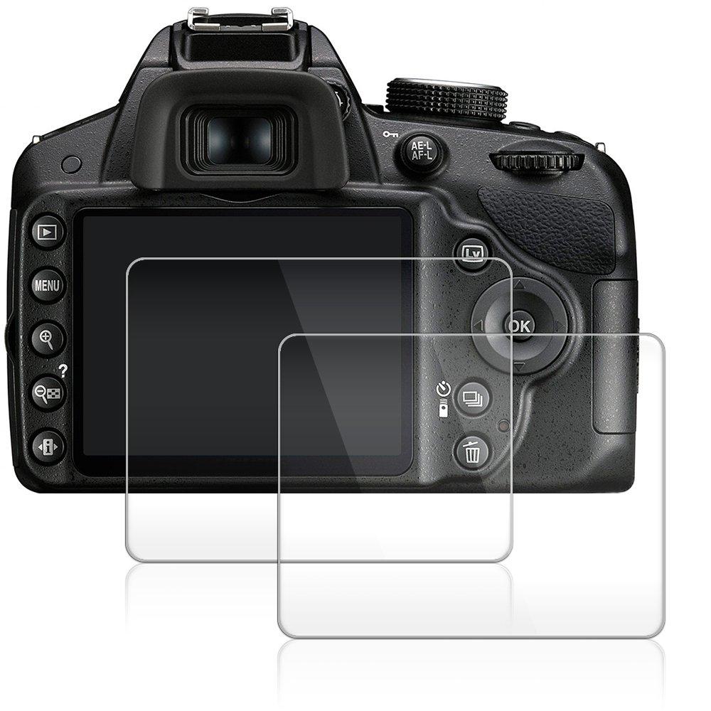 AFUNTA Protector de Pantalla para Nikon D3100 D3200 D3300 D3400, 2 Paquete la Cámara del
