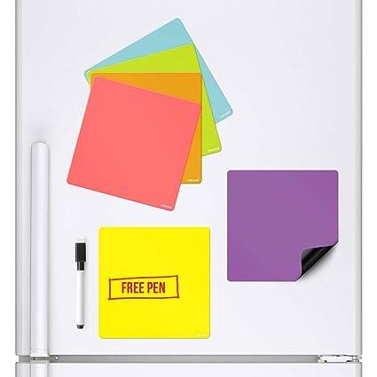 CKB Ltd - Lote de 6 pizarras Blancas magnéticas de Colores Que se adhieren a tu Nevera con un rotulador y un rotulador Colorido para la Cocina, con un ...
