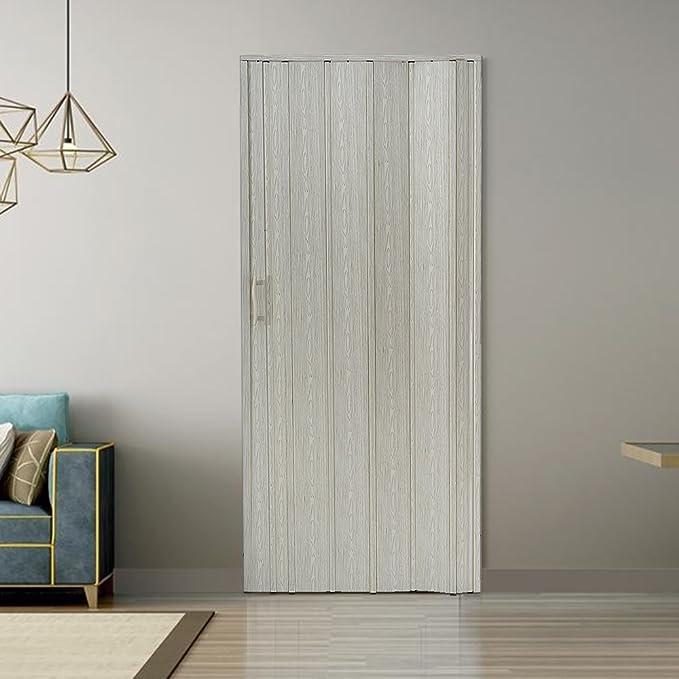 Puerta acordeón de PVC, con bloques magnéticos para cierre, modelo Amelia, acabado brillante, 6 mm, 80 x 203 cm, 7 paneles, beige: Amazon.es: Bricolaje y herramientas