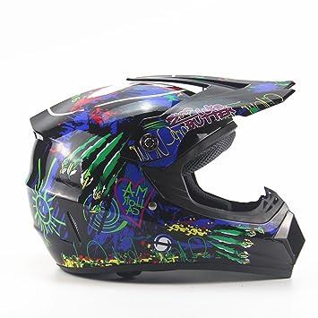 Lidauto Motocross Cascos Motos Off Road Racing Profesionales Cross Graffiti Green,S
