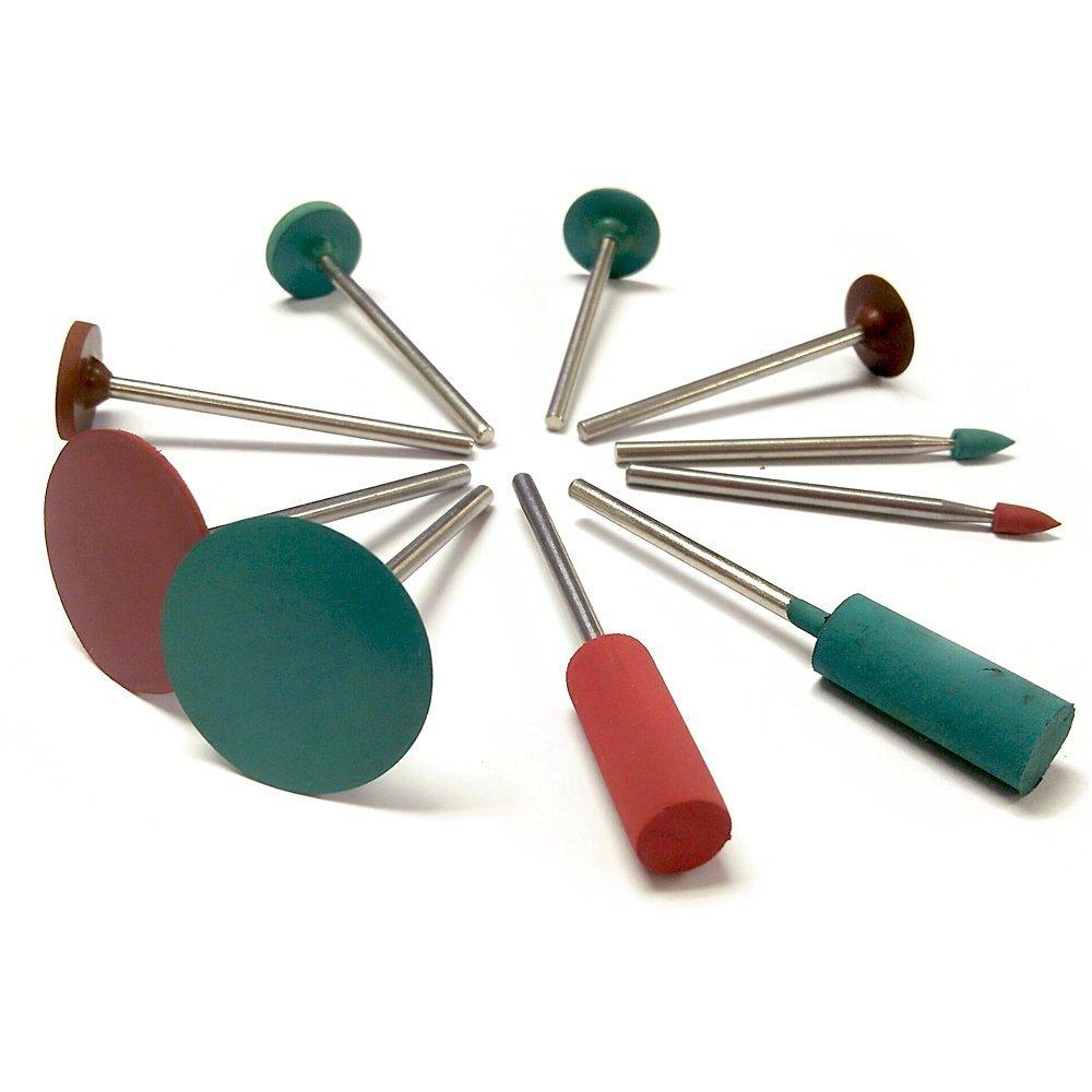 PHYHOO Jewelry Tool Rubber Rotary Tools Polishing Burr Dremel 10pcs Diamond-in-rubber Emery Polishing Bit Set - Fits Dremel - Metal, Glass, Stone, Tile