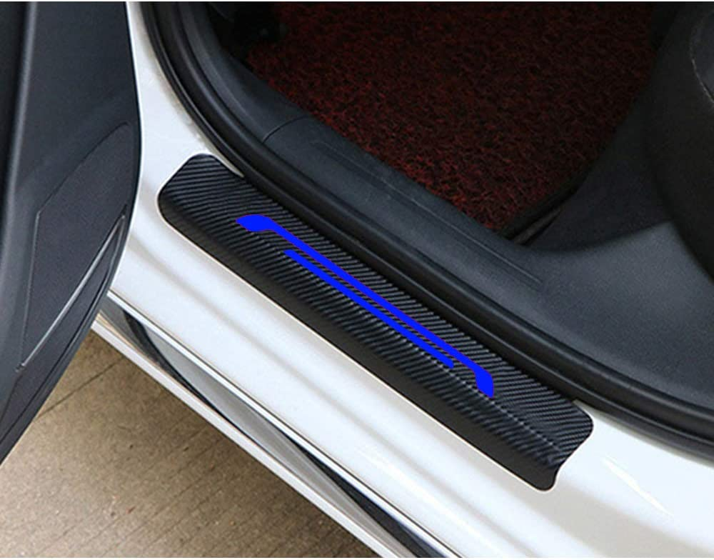 For NISSAN NV200 Pathfinder Rogue Sentra Serena Door Sill Protector Reflective 4D Carbon Fiber Sticker Door Entry Guard Door Sill Scuff Plate Stickers Auto Accessories 4Pcs Blue
