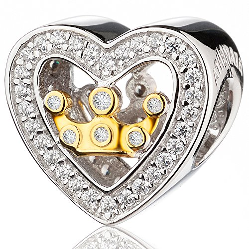 ATHENAIE925SilverPlatedPlatinumwithPaveClearCZ Heart Shaped Love Crown in Heart Charm Beads (Enamel Crown Charm)