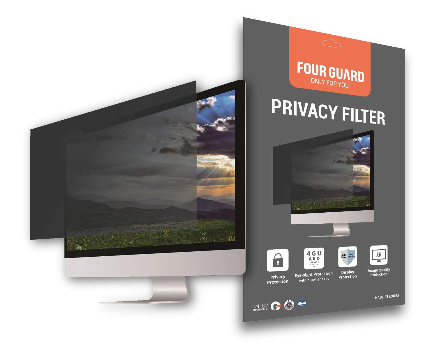 Four Guard Privacy Screen Filter for Computer Monitor 19.5 Inch 16:9 Widescreen - Privacy Protection Blue Light Reduction Anti Glare Anti Scratch Protector Film by Four Guard