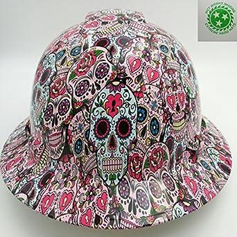 Wet Works Imaging Customized Pyramex Full Brim Sugar Skulls Hard Hat With Ratcheting Suspension