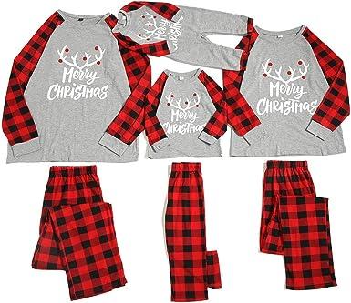 Miyanuby Hombres Mujeres Niños Pijama Conjunto Ropa de Dormir Carta Impreso O-Cuello A Cuadros Navidad Familia Conjunto Pijamas a Juego