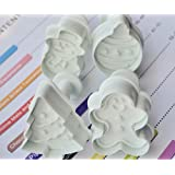 Fashionclubs 4pcs Christmas Tree Snowman Biscuit Cookie Fondant Cutter Plunger Mold