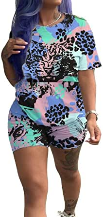 FSSE Womens Summer Slim Short Sleeve Print T-Shirt & Shorts 2-Piece Outfit