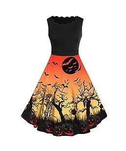 Vestido de Halloween con Encaje Estampado Negro Vestido de Noche de Encaje Retro de Halloween de Manga Corta para Mujer Vestido de Oscilación de Calabaza de línea Disfraces Fiesta (M, Amarillo)