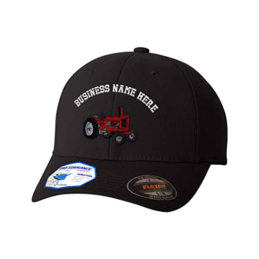 Amazon.com: Custom Flexfit Baseball Cap Red Tractor Embroidery Business Name Polyester Hat: Clothing