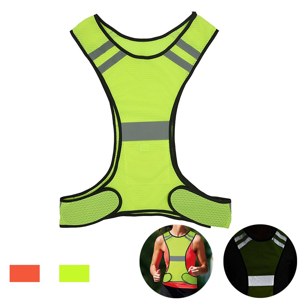 AUOON Reflective Night Running Vest with Adjustable Strap & Breathable Holes, Ultrathin Lightweight Safety Vest with 360° High Visibility for Running, Jogging, Cycling, Hiking, Walking, Yellow by AUOON