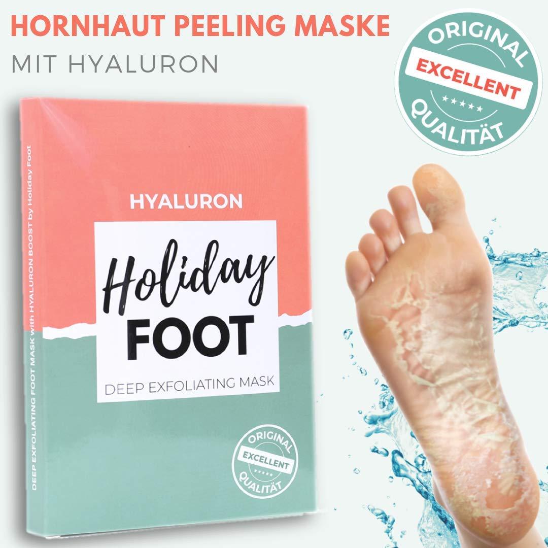 Premium Hyaluron – Maschera per la rimozione della calligrafia, piedi morbidi per bambini dopo un'applicazione, valutazione test: Excellent, calze esfolianti, istruzioni in lingua tedesca Holidayfoot