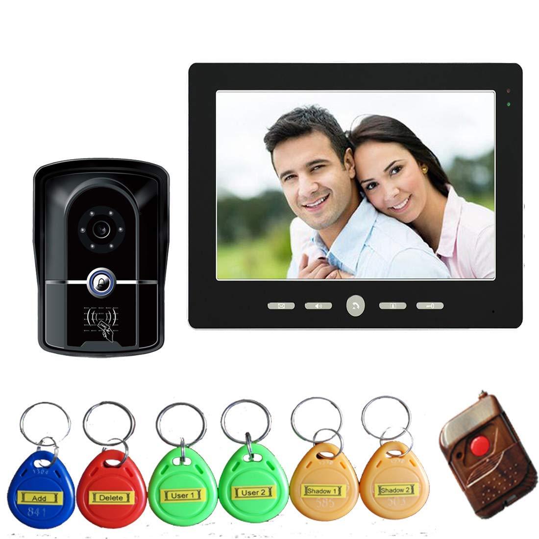 JINPENGPEN 10 inch Intelligent Video doorbell Remote intercom Access Control System HD 1000TVL Infrared Camera,1/1