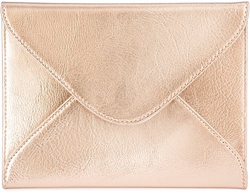 (Small Envelope Clutch Bag, 8 x 6 inches, Metallic Rose Gold For Cosmetics, Makeup, Cellphone, and Wallet - Made of Premium Vegan Leather (SEV8))