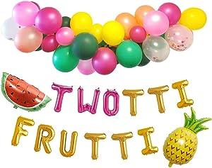 "Twotti Fruity Birthday Decorations Balloon Arch Garland ""Twotti Frutti"" Foil Balloon Banner Watermelon Pineapple Decor"