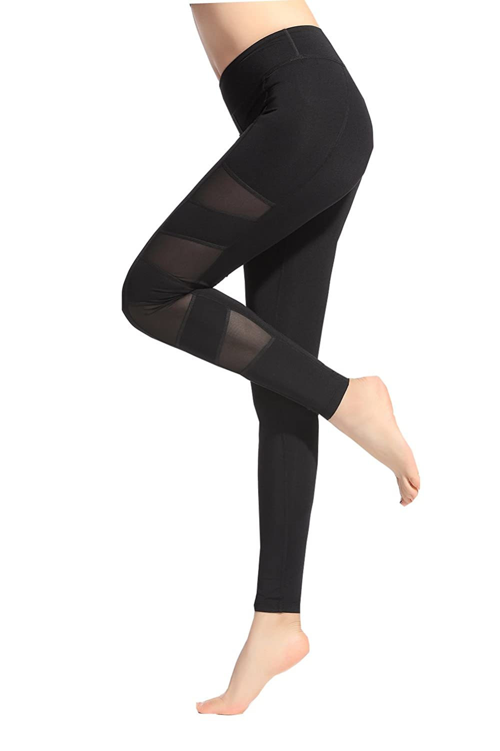 Lotsyle Women's Mesh Panels Stretchy Workout Sports Gym Yoga Leggings Ninth Pants