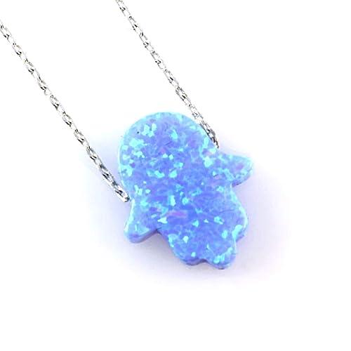 Amazon.com  Blue Created Opal Hamsa Hand of Fatima Amulet against ... 9e92efefc4b3