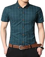 AIYINO Herren Kurzarm Hemd Für Business Freizeit Baumwolle 9 Farben zur Auswahl XS-XL