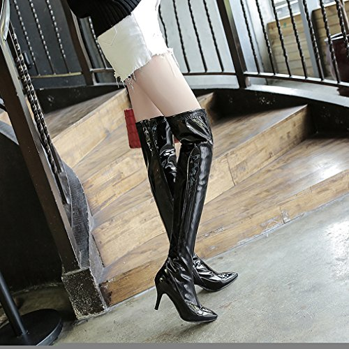 pointu Bottes sexy haut hiver aiguille vernis talon Oaleen cuissardes bout femme Noir zippées pS1xAFnwq