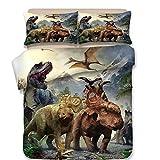 Koongso 3D Dinosaur World Print Bedding Sets Reversible 3 Pieces Soft Jurassic Duvet Cover Set for Kids Boys Teens,Twin/Full/Queen/King Size