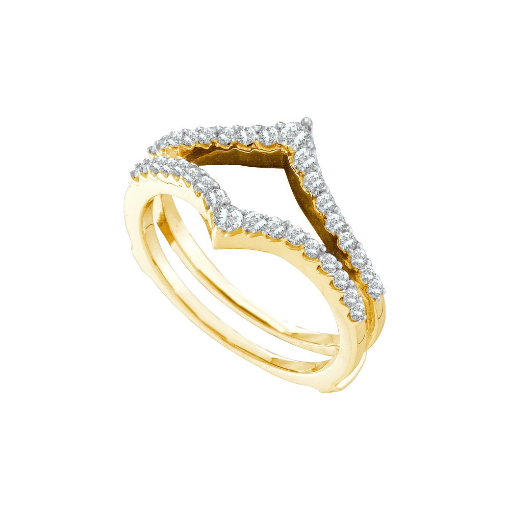 14kt Yellow Gold Womens Round Diamond Ring Guard Wrap Enhancer Wedding Band 1/2 Cttw (I1-I2 clarity; H-I color)