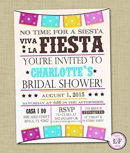 fiesta bridal shower invitation set of 10