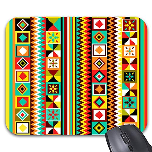 Kente Design - African Design Kente Cloth Tribal Pattern Summer Mouse Pad Stylish Office Computer Accessory 9.86 x 7.86