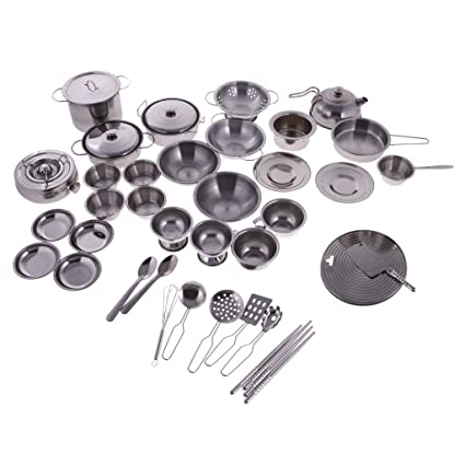 Segolike Children Kids Pretend Toys Kitchen Cookware Set Stainless Steel Pots And Pans With Cooking Utensils Playset 40 Pieces