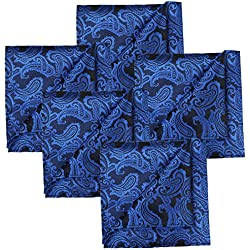 KissTies 5 PCS Royal Blue Pocket Square Paisley Wedding Hankies Gift Set