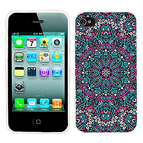 iPhone 4s Case Cute,iPhone 4 Case for Girls, ChiChiC full Protective Stylish Case slim durable Soft TPU Cases Cover for iPhone 4 4g 4s,geometric pink ocean arabesque pattern mandala (Iphone 4 Case Artsy)