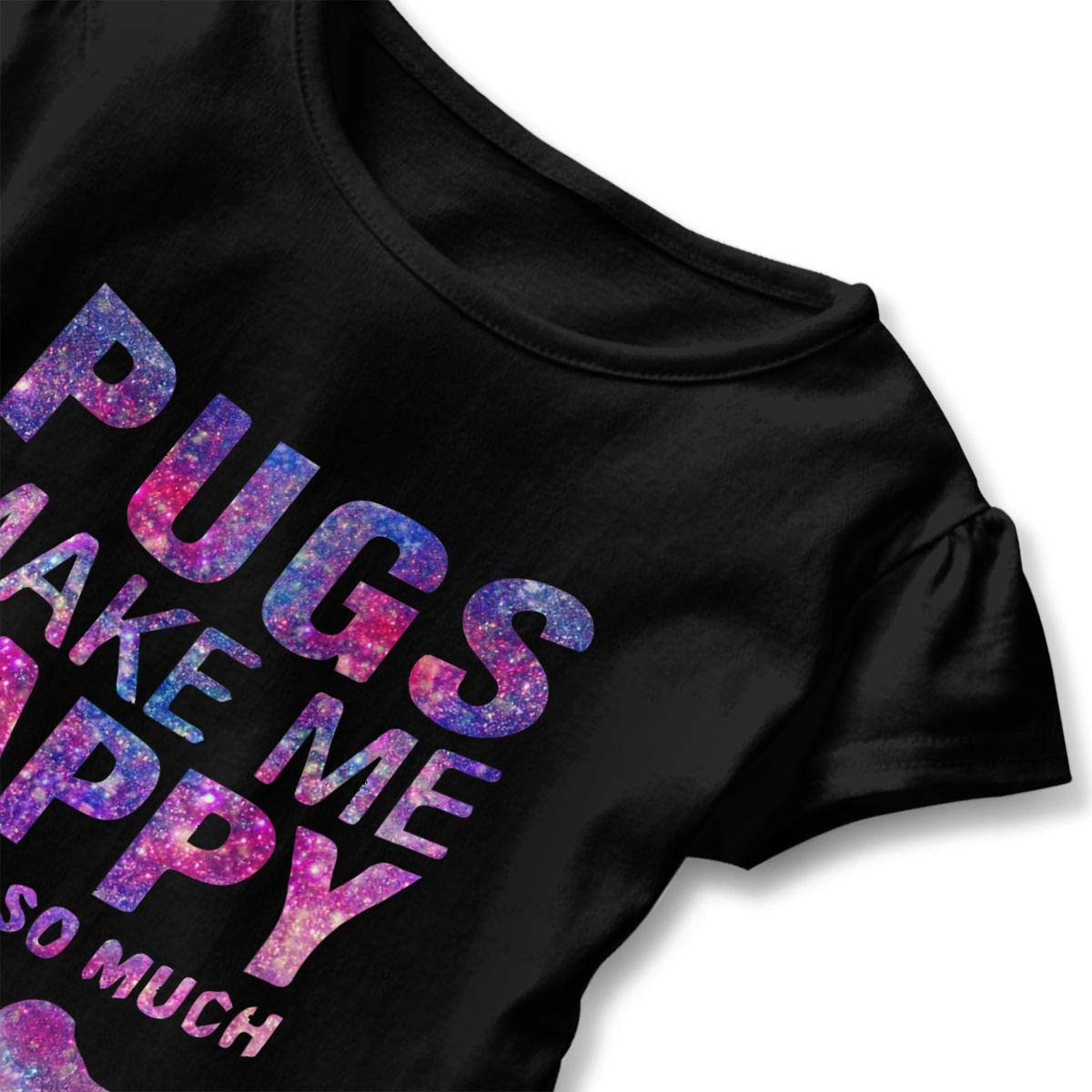 CZnuen Pugs Make Me Happy Baby Girls Round Neck Short Sleeve Ruffle T-Shirt Top
