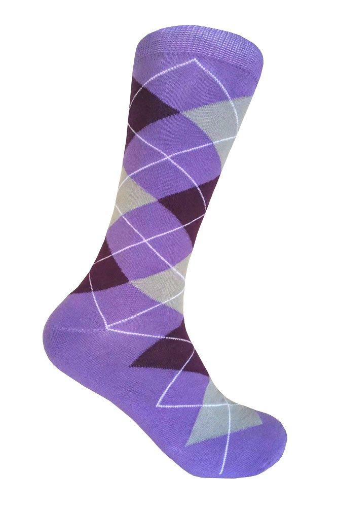 Men's Groomsmen Wedding|Party Events|Gala Collection Argyle Dress socks,Lavender/Purple/Light Heather Gray