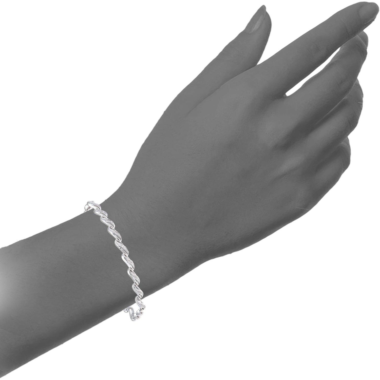 e49c1bb174ec Naava Pulsera para Mujer de Plata de Ley con Diamante  Amazon.es  Joyería