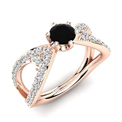 aee17fb17 Image Unavailable. Image not available for. Color: jsjewels 0.95 Ct Round  Cut Black & Sim Diamond Infinity Engagement Ring 14K Rose Gold Plated