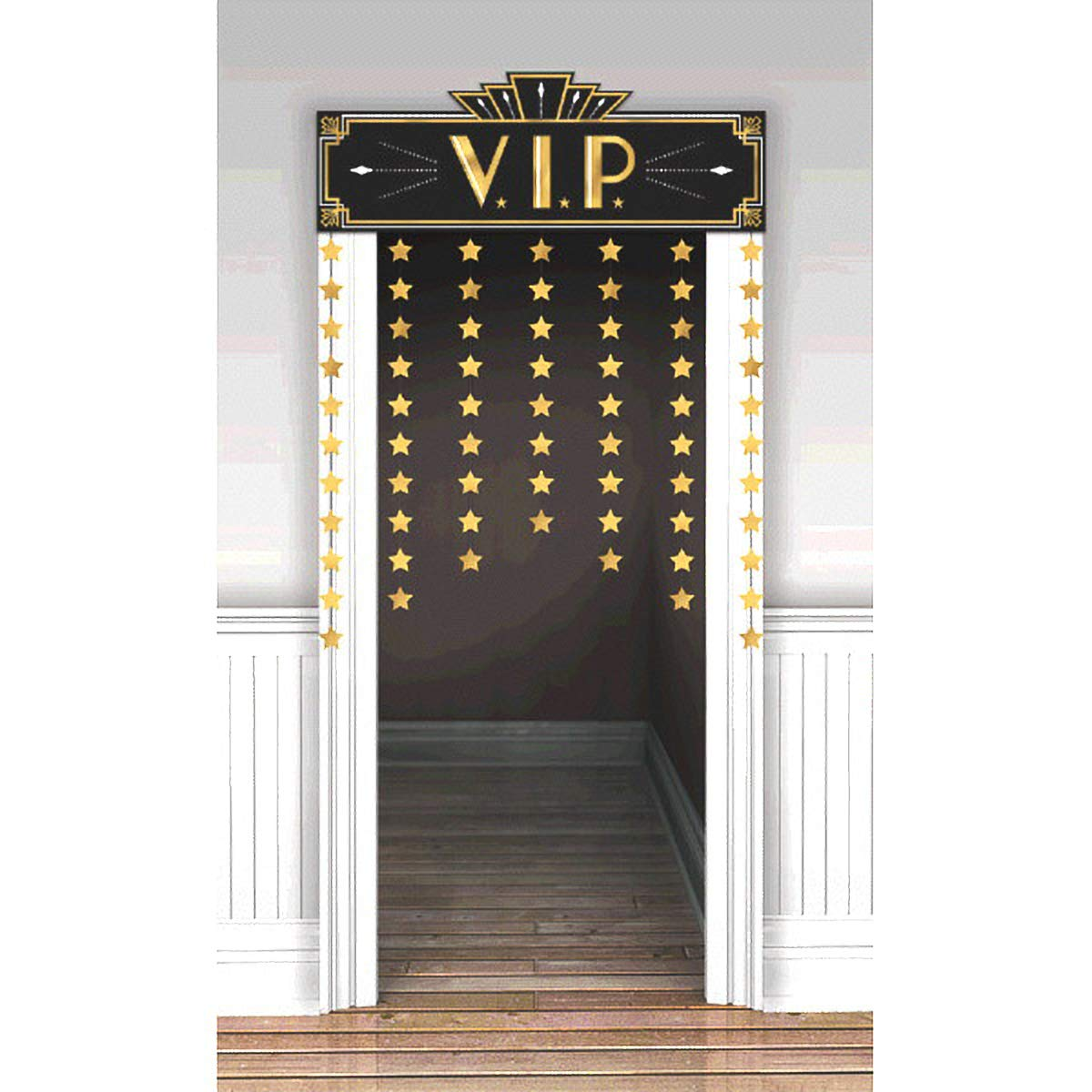 Movie Night Hollywood Themed Party ''Lights! Camera! Action!'' Star Studded Door Decoration, Foil, 48'' x 36''