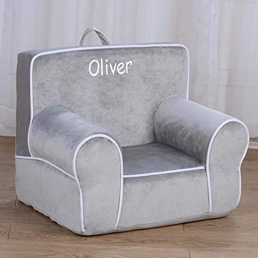 DIBSIES Personalized My Anytime Chair for Toddlers - Ages 1.5 to 4 Years Old Gray with White Piping