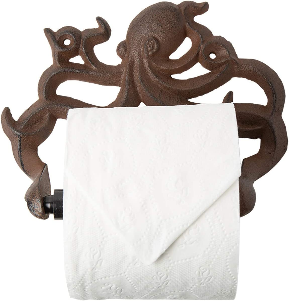 Decorative Cast Iron Octopus Toilet Paper Roll Holder – Wall Mounted Octopus Décor for Bathroom – Kraken, Nautical Bathroom Accessories – Easy to Install with Included Screws and Anchors - Rust Brown